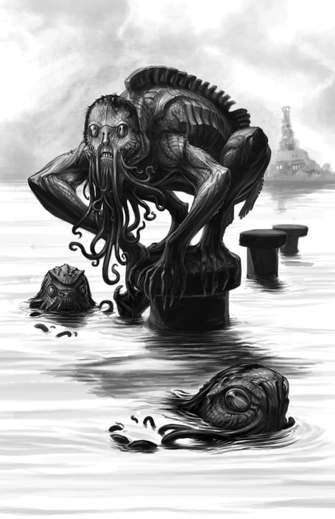 Bathers at Innsmouth port by Onikaizer.jpg